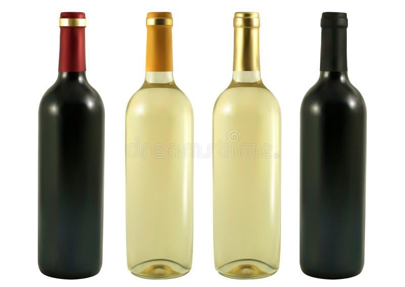 μπουκάλια τέσσερα κρασί ελεύθερη απεικόνιση δικαιώματος