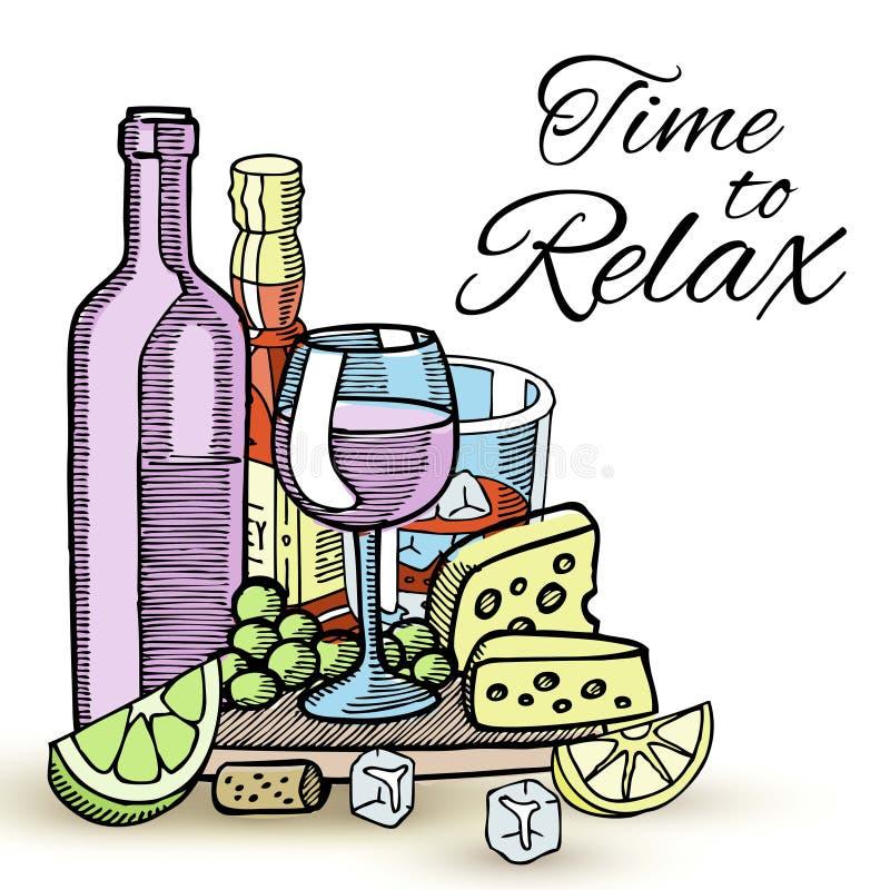 Μπουκάλια του κρασιού και των γυαλιών με τα διάφορα οινοπνευματώδη ποτά, το τυρί, τα σταφύλια και τη φέτα της διανυσματικής απεικ ελεύθερη απεικόνιση δικαιώματος