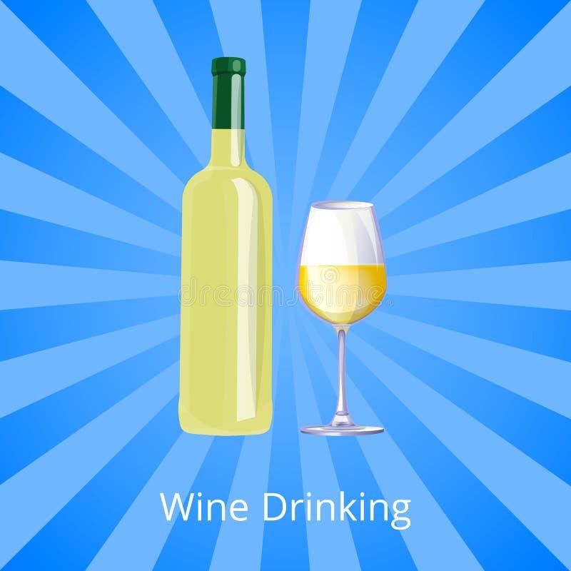 Μπουκάλι αφισών κατανάλωσης κρασιού του άσπρων κρασιού και Gass ελεύθερη απεικόνιση δικαιώματος