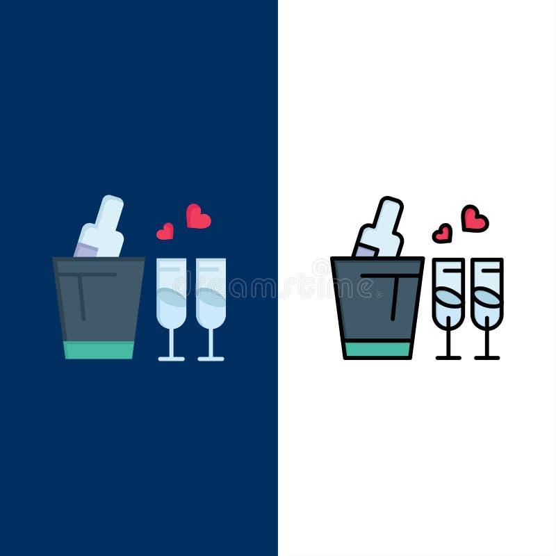 Μπουκάλι, γυαλί, αγάπη, γαμήλια εικονίδια Επίπεδος και γραμμή γέμισε το καθορισμένο διανυσματικό μπλε υπόβαθρο εικονιδίων απεικόνιση αποθεμάτων