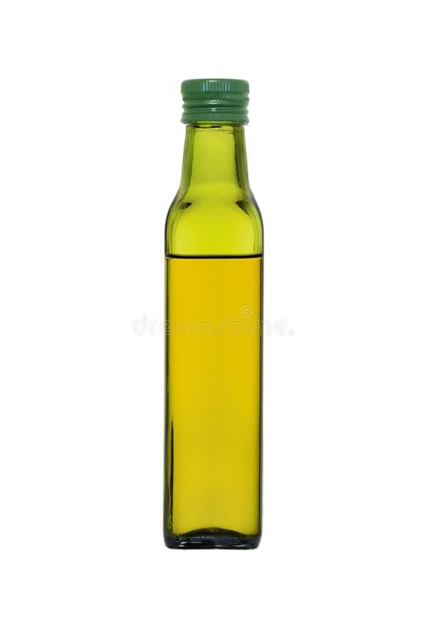 Μπουκάλι γυαλιού με το ελαιόλαδο που απομονώνεται στο άσπρο υπόβαθρο στοκ φωτογραφίες