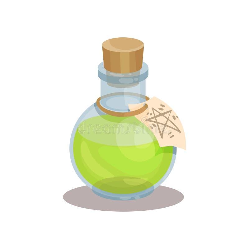 Μπουκάλι γυαλιού με το μαγικό ελιξίριο και ετικέτα με το μυστήριο σύμβολο Πράσινη φίλτρο Στοιχείο για το κινητό παιχνίδι Επίπεδο  διανυσματική απεικόνιση