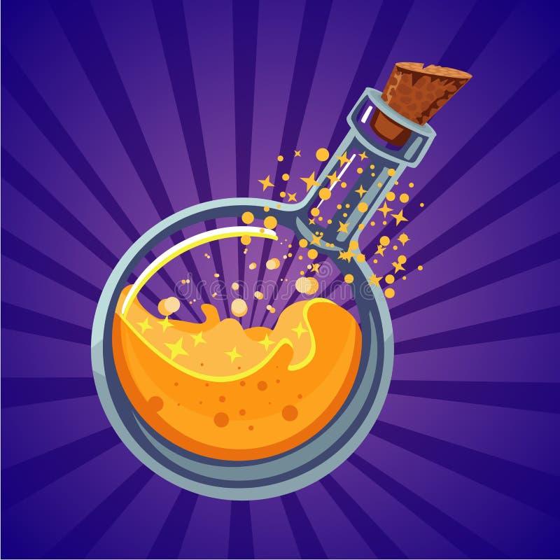 Μπουκάλι γυαλιού με το μαγικό ελιξίριο Προτέρημα παιχνιδιών στον υπολογιστή Διανυσματική απεικόνιση κινούμενων σχεδίων φαντασίας διανυσματική απεικόνιση
