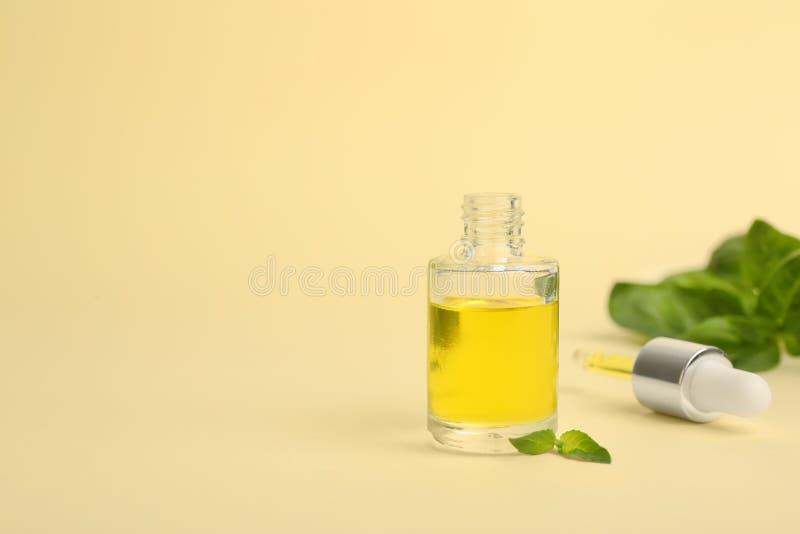Μπουκάλι γυαλιού με το πετρέλαιο βασιλικού, τα φύλλα και dropper στοκ φωτογραφία με δικαίωμα ελεύθερης χρήσης