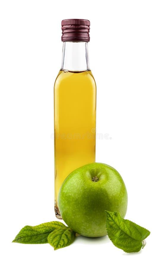 Μπουκάλι γυαλιού του ξιδιού μήλων στοκ εικόνες