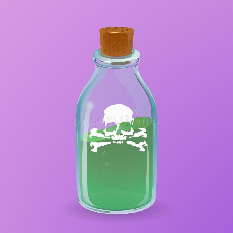 Μπουκάλι δηλητήριων Ύφος κινούμενων σχεδίων διανυσματική απεικόνιση