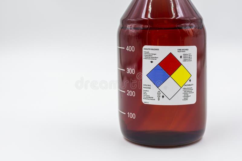 Μπουκάλι εργαστηριακού ηλέκτρινο γυαλιού με την κενή ετικέτα κινδύνων για την υγεία στοκ φωτογραφία με δικαίωμα ελεύθερης χρήσης