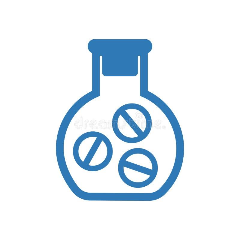 Μπουκάλι ιατρικής Φιαλίδιο με τα χάπια, μπλε ιατρικό εικονίδιο r διανυσματική απεικόνιση