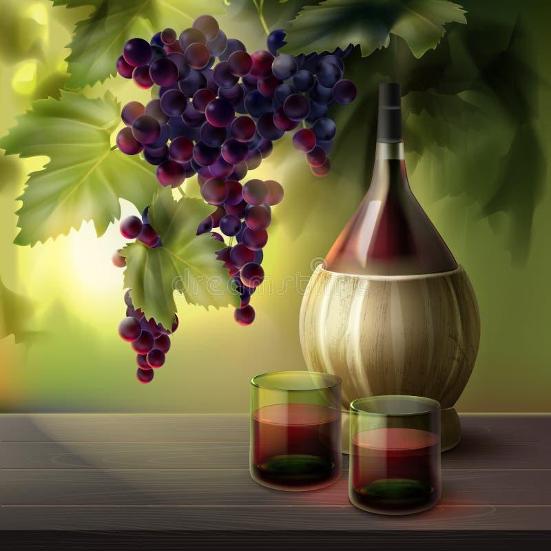 Μπουκάλι και σταφύλια κρασιού ελεύθερη απεικόνιση δικαιώματος