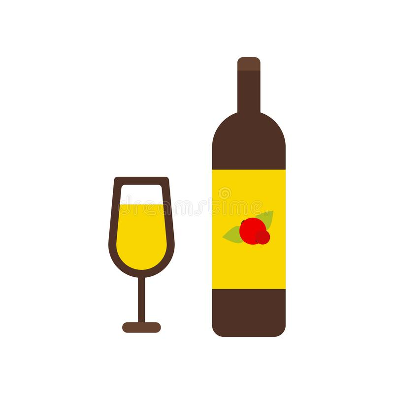 Μπουκάλι κρασιού και απομονωμένο γυαλί εικονίδιο κρασιού διανυσματική απεικόνιση