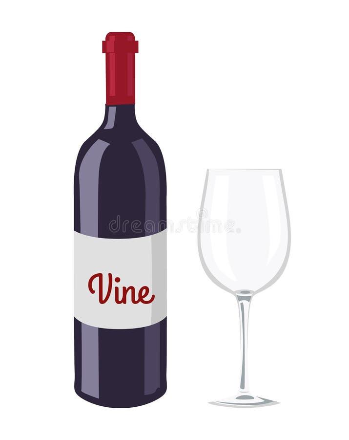 Μπουκάλι κρασιού και διανυσματική απεικόνιση αντικειμένου γυαλιού ελεύθερη απεικόνιση δικαιώματος