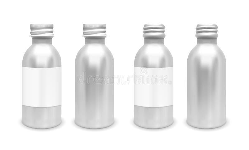 Μπουκάλι μετάλλων με το καπάκι διανυσματική απεικόνιση