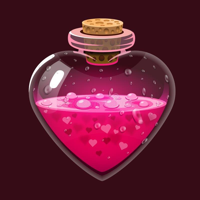 Μπουκάλι με τη φίλτρο αγάπης Μαγικό ελιξίριο εικονιδίων Σχέδιο για app το ενδιάμεσο με τον χρήστη Στοιχεία σχεδίου για την ημέρα  διανυσματική απεικόνιση
