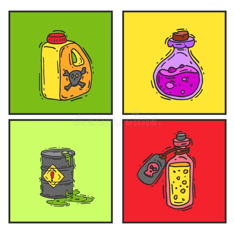 Μπουκάλι με το μαγικό ελιξίριο καρτών γυαλιού παιχνιδιών φίλτρων που δηλητηριάζει το τοξικό διάνυσμα εμπορευματοκιβωτίων φαρμάκων διανυσματική απεικόνιση