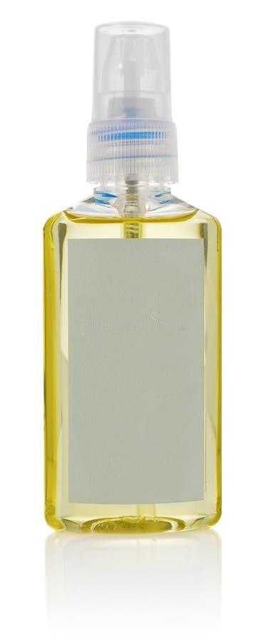 Μπουκάλι με το ουσιαστικό πετρέλαιο προσοχής σωμάτων Εμπορευματοκιβώτιο με τον ψεκαστήρα και στοκ εικόνες με δικαίωμα ελεύθερης χρήσης
