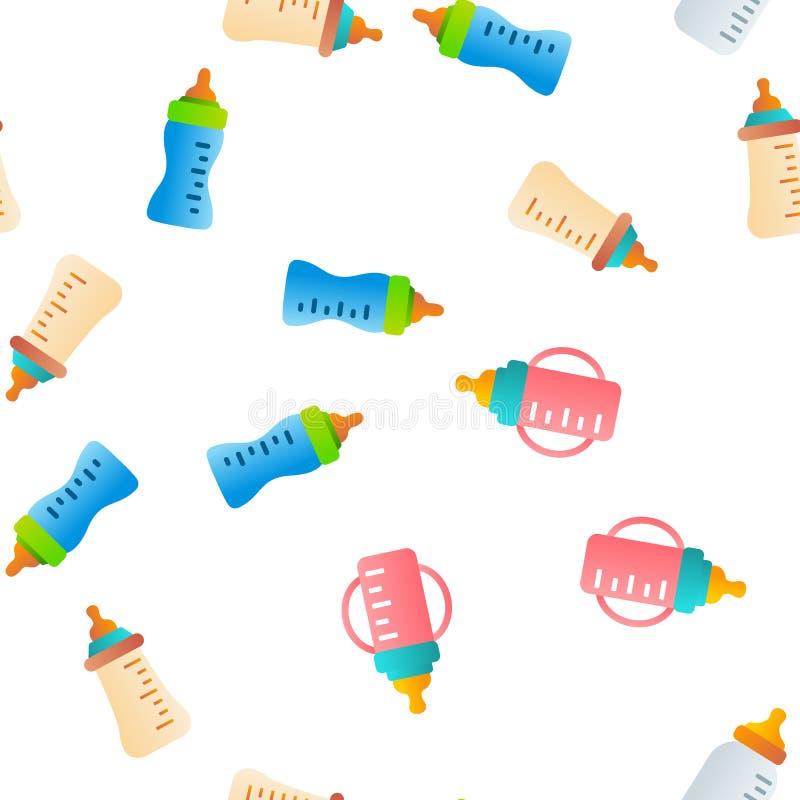 Μπουκάλι μωρών, διανυσματικό άνευ ραφής σχέδιο εξοπλισμού φροντίδας των παιδιών διανυσματική απεικόνιση