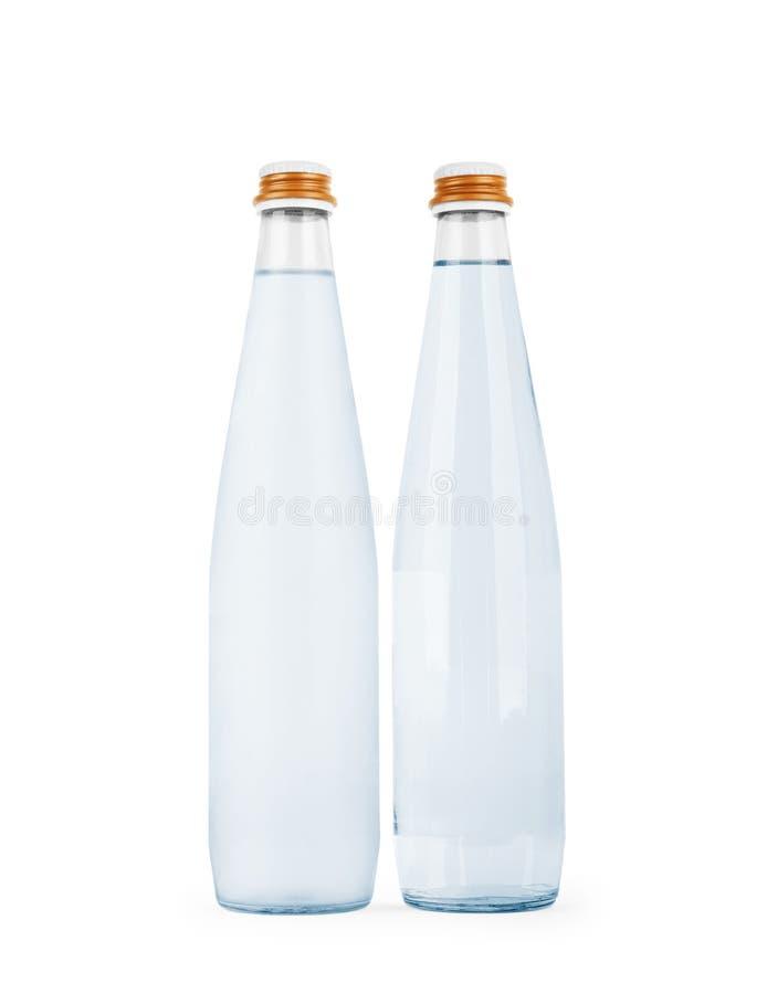Μπουκάλι νερό γυαλιού που απομονώνεται σε ένα άσπρο υπόβαθρο στοκ φωτογραφία με δικαίωμα ελεύθερης χρήσης