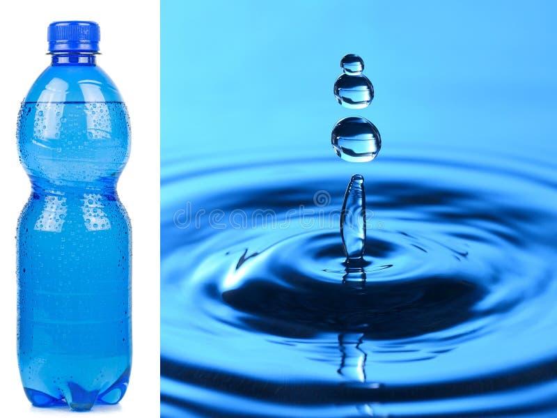 Μπουκάλι νερό και μακρο παφλασμός στοκ φωτογραφία