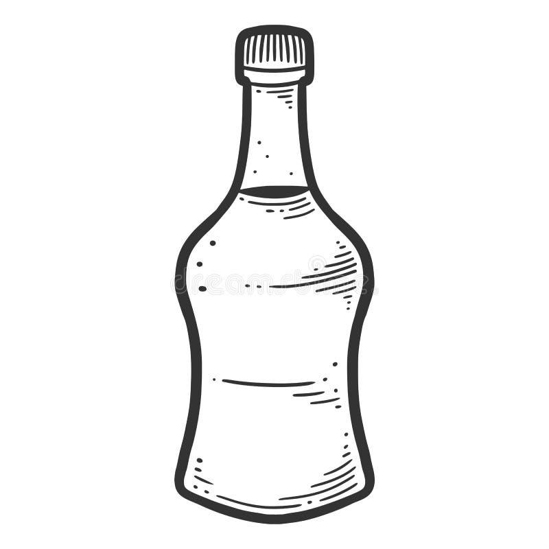 Μπουκάλι σάλτσας σόγιας Διανυσματική έννοια στο ύφος doodle και σκίτσων ελεύθερη απεικόνιση δικαιώματος