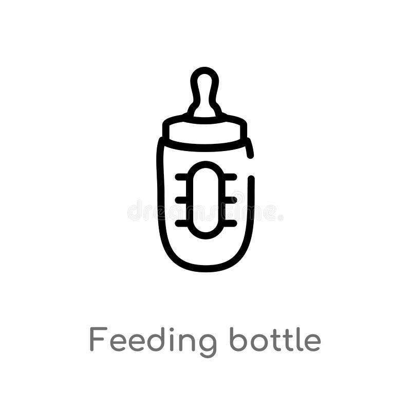 μπουκάλι σίτισης περιλήψεων διανυσματικό εικονίδιο απομονωμένη μαύρη απλή απεικόνιση στοιχείων γραμμών από την έννοια παιδιών και απεικόνιση αποθεμάτων