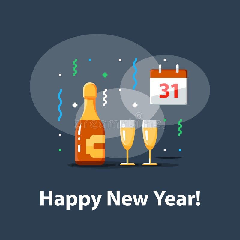 Μπουκάλι σαμπάνιας και δύο γυαλιών, ημερολόγιο με τον αριθμό 31, νέος εορτασμός έτους, κόμμα νύχτας, διανυσματική απεικόνιση απεικόνιση αποθεμάτων