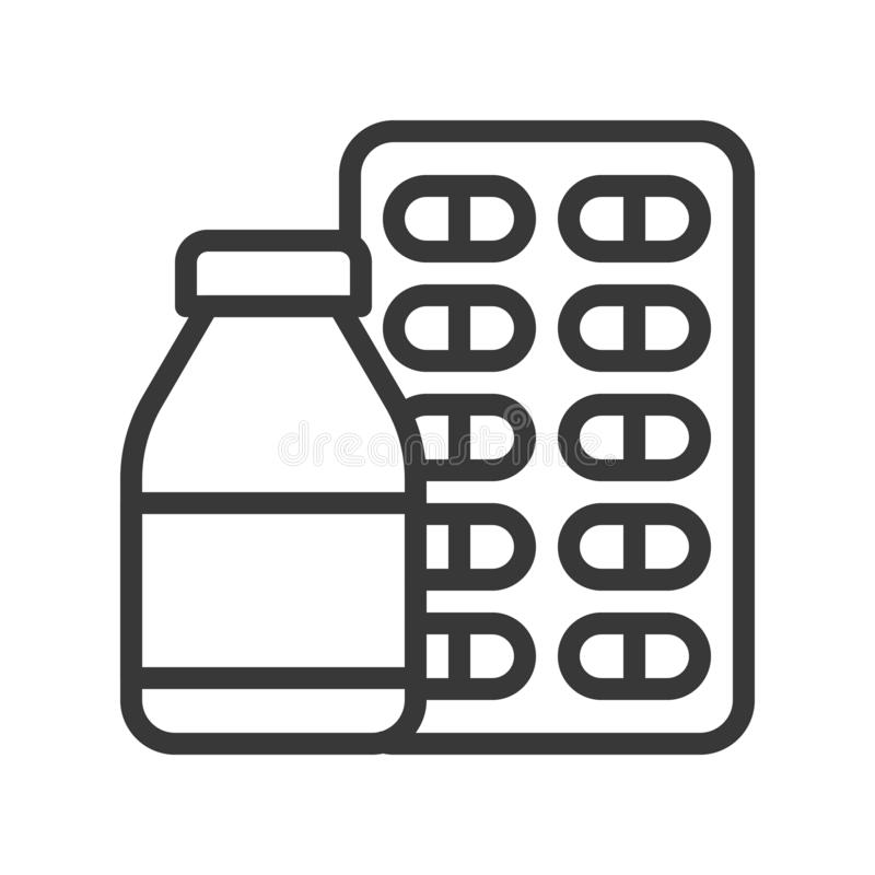 Μπουκάλι σιροπιού και κάψα, φαρμακευτικό σχετικό εικονίδιο περιλήψεων διανυσματική απεικόνιση