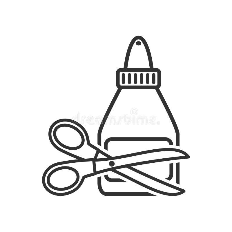 Μπουκάλι σωλήνων κόλλας και εικονίδιο περιλήψεων ψαλιδιού ελεύθερη απεικόνιση δικαιώματος
