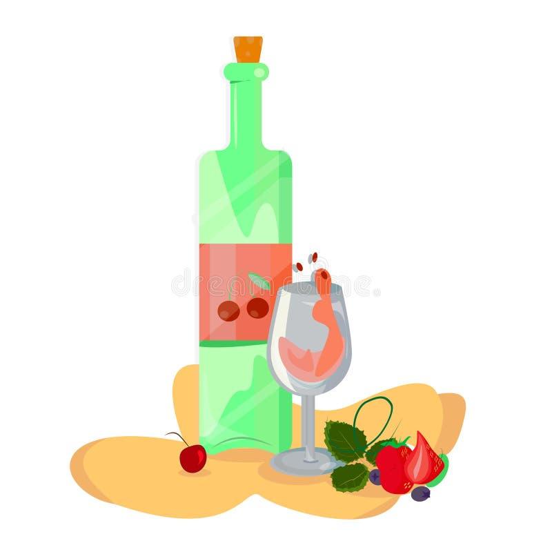 Μπουκάλι της γεύσης και του γυαλιού κερασιών κόκκινου κρασιού διανυσματική απεικόνιση