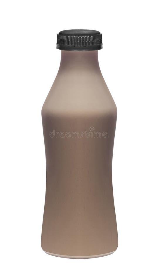 Μπουκάλι της φρέσκιας σοκολάτας γάλακτος που απομονώνεται στοκ φωτογραφία