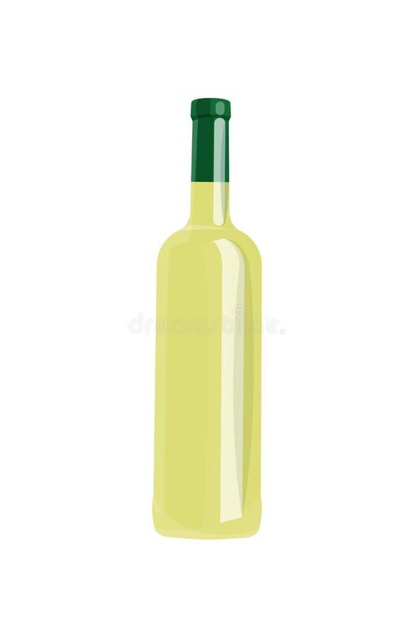 Μπουκάλι του άσπρου κρασιού που απομονώνεται στο κενό υπόβαθρο διανυσματική απεικόνιση