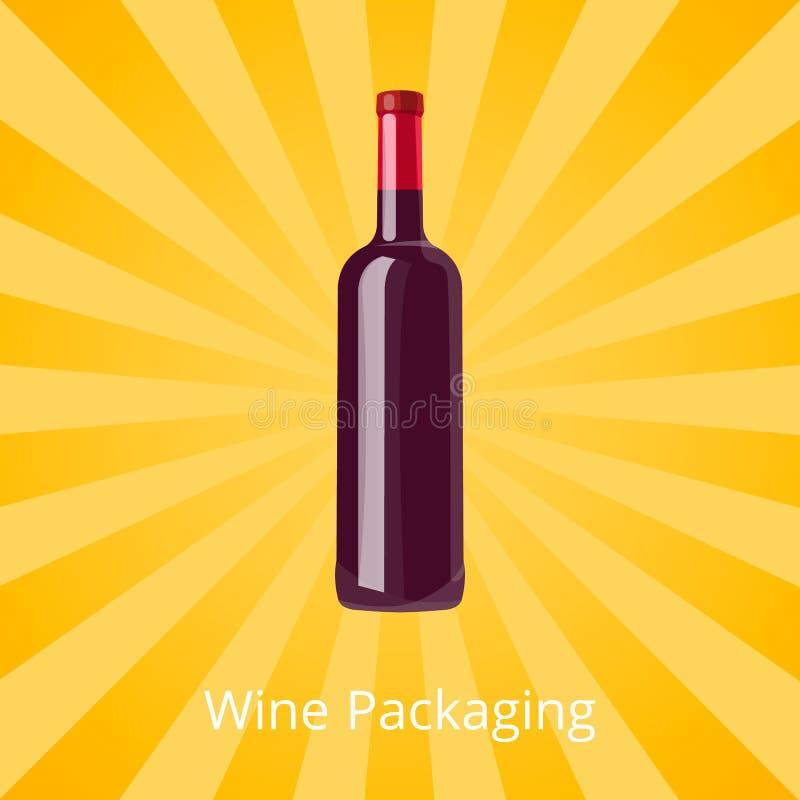 Μπουκάλι του απομονωμένου υποβάθρου κόκκινου κρασιού με τις ακτίνες απεικόνιση αποθεμάτων