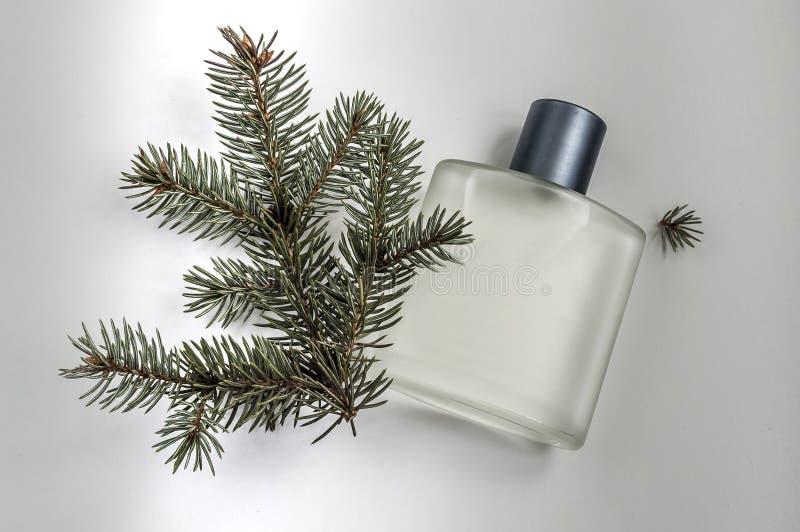 Μπουκάλι του αρσενικού αρώματος σε ένα γκρίζο υπόβαθρο στοκ φωτογραφία με δικαίωμα ελεύθερης χρήσης