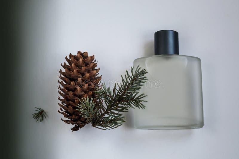 Μπουκάλι του αρσενικού αρώματος σε ένα γκρίζο υπόβαθρο στοκ φωτογραφία