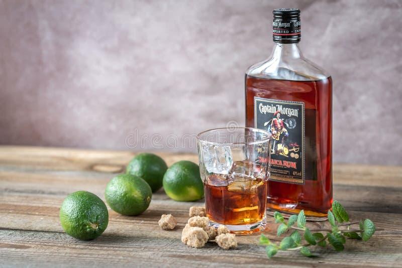 Μπουκάλι του καπετάνιου Morgan Rum στοκ φωτογραφία με δικαίωμα ελεύθερης χρήσης