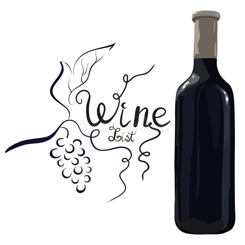 Μπουκάλι του κόκκινου κρασιού με συρμένα τα χέρι σταφύλια στοκ εικόνα