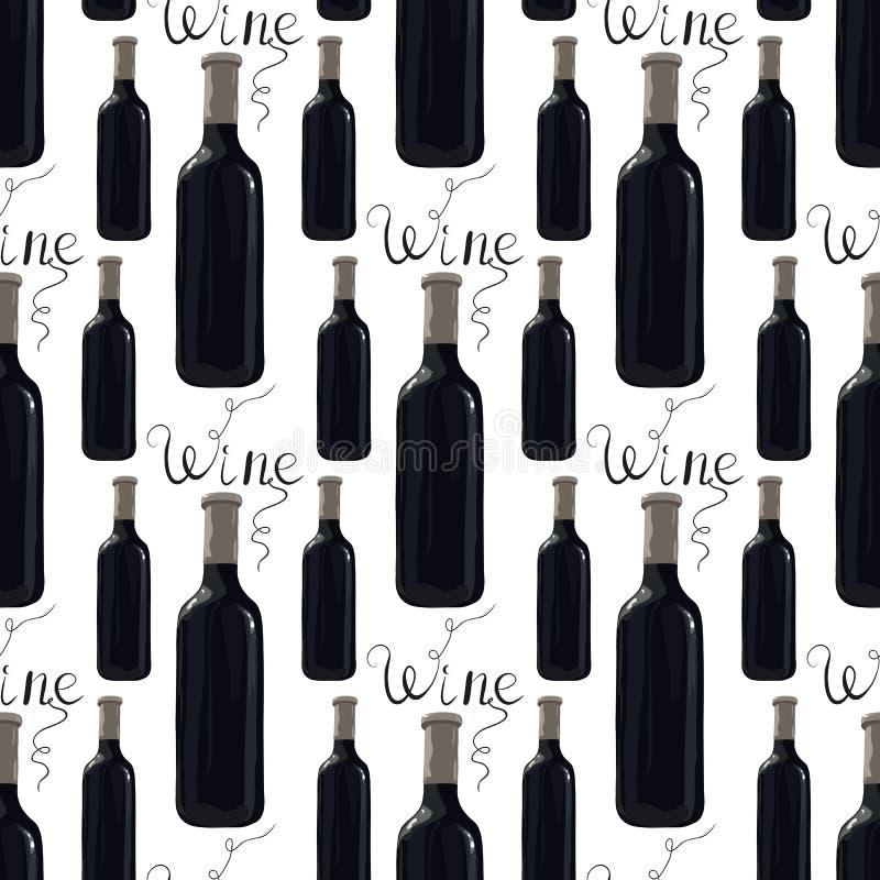 Μπουκάλι του κόκκινου κρασιού με την εγγραφή στοκ φωτογραφίες