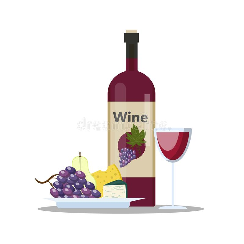 Μπουκάλι του συνόλου κόκκινου κρασιού και γυαλιού του ποτού οινοπνεύματος απεικόνιση αποθεμάτων