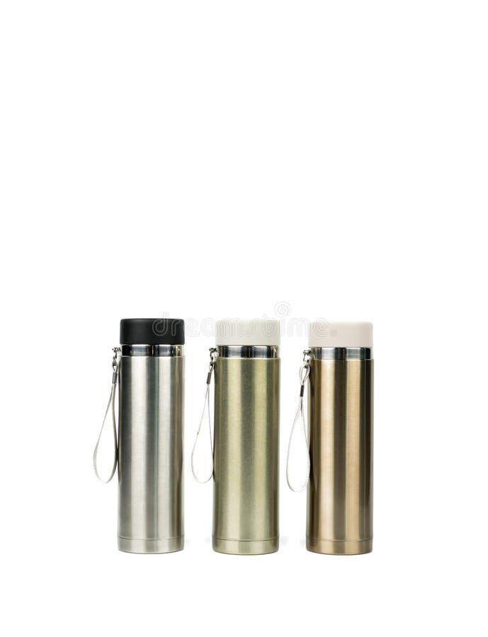 Μπουκάλι τριών ασημένιο thermos στο άσπρο υπόβαθρο στοκ εικόνα