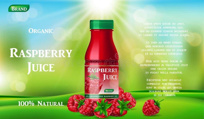 Μπουκάλι χυμού σμέουρων στην πράσινη χλόη αγγελία συσκευασίας εμπορευματοκιβωτίων χυμού φρούτων τρισδιάστατο ρεαλιστικό κοκτέιλ θ απεικόνιση αποθεμάτων