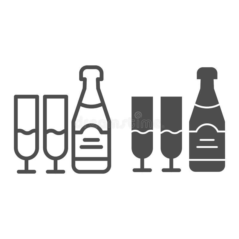 Μπουκάλι CHAMPAGNE και γραμμή και glyph εικονίδιο γυαλιών Ποτών απεικόνιση που απομονώνεται διανυσματική στο λευκό Ύφος περιλήψεω διανυσματική απεικόνιση