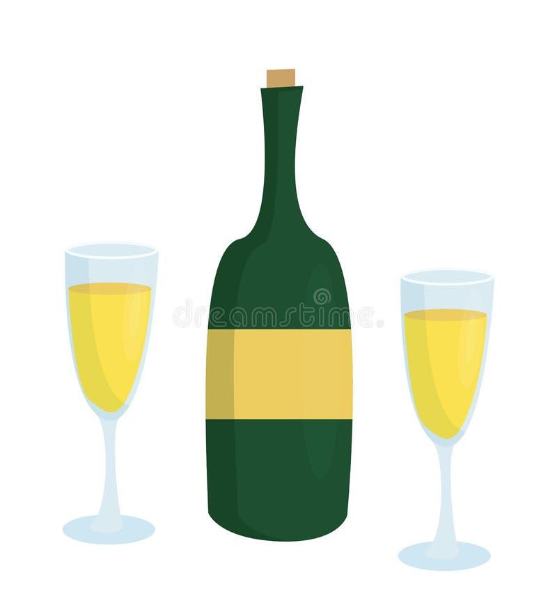 Μπουκάλι CHAMPAGNE χωρίς την ετικέτα και δύο γυαλιά ελεύθερη απεικόνιση δικαιώματος