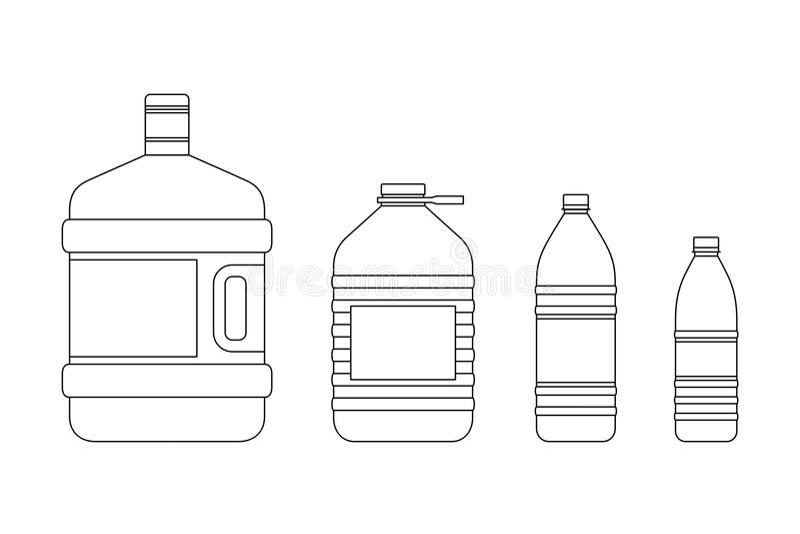 Μπουκάλια γραμμών για το νερό διανυσματική απεικόνιση