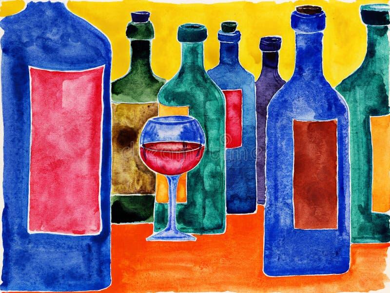 Μπουκάλια κρασιού. ελεύθερη απεικόνιση δικαιώματος