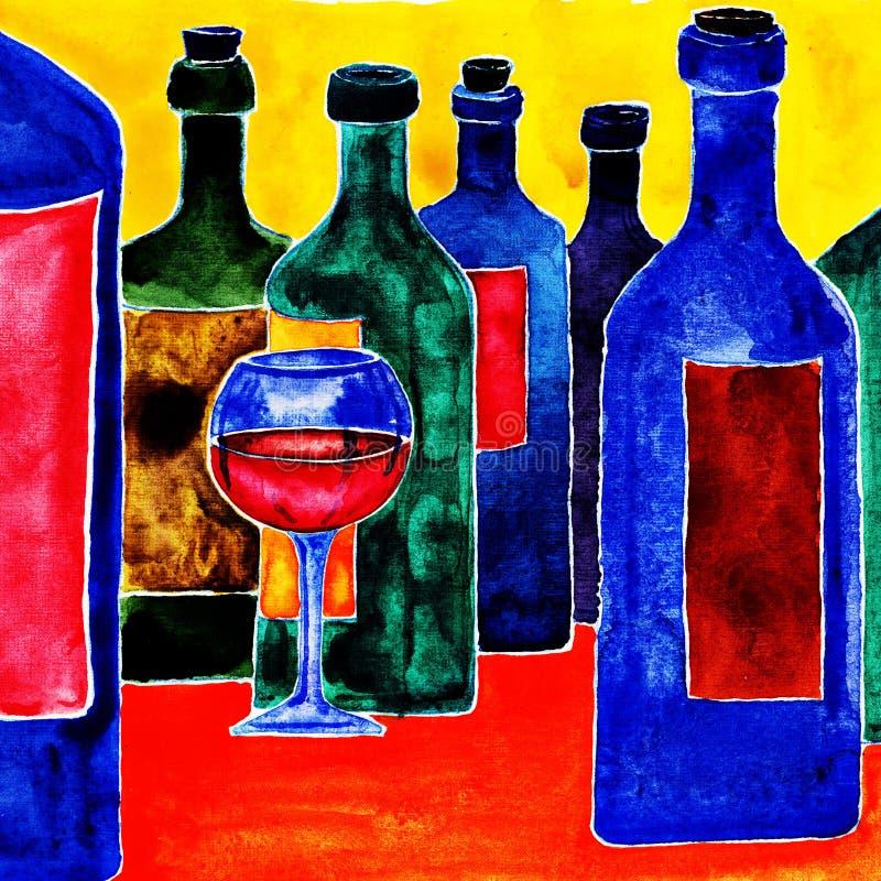 Μπουκάλια κρασιού. διανυσματική απεικόνιση