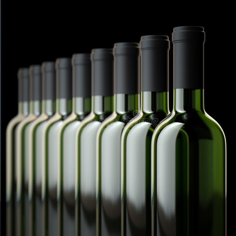 Μπουκάλια κόκκινου κρασιού στο κελάρι κρασιού ή στην κάβα στοκ φωτογραφία