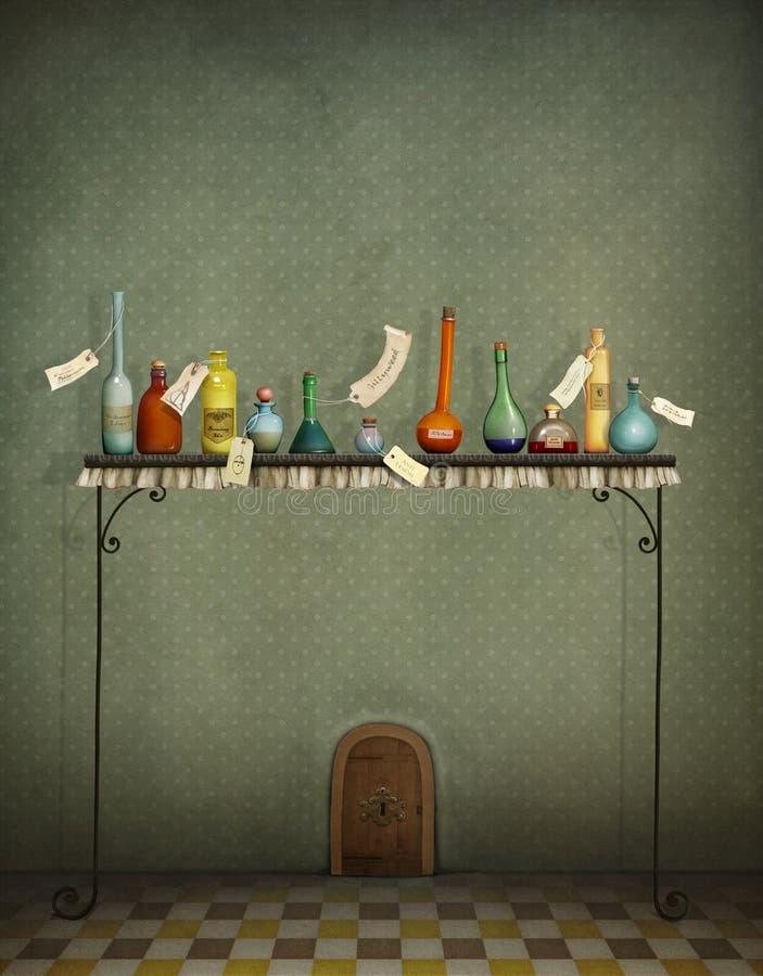 Μπουκάλια, κλειδιά και μικρή πόρτα ελεύθερη απεικόνιση δικαιώματος