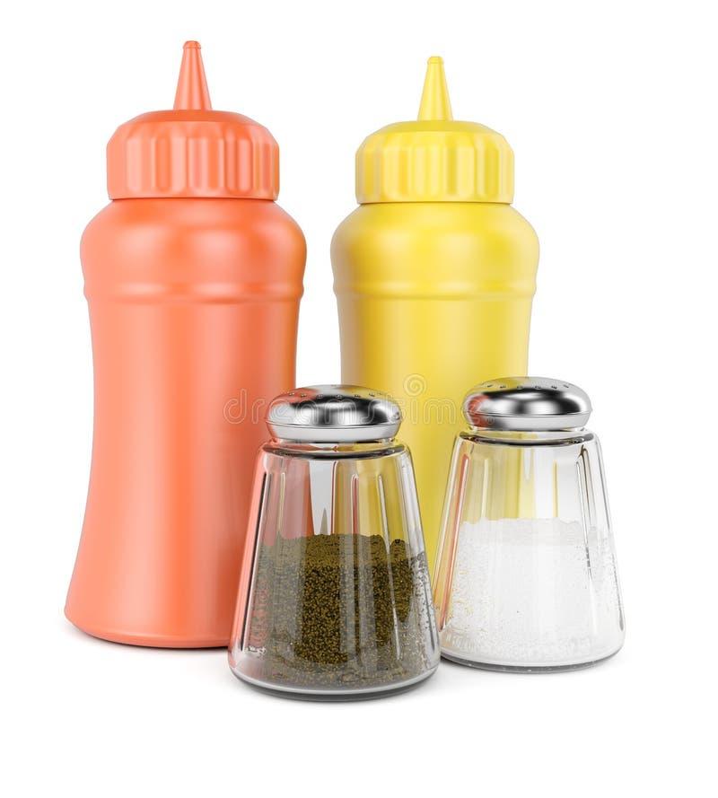 Μπουκάλια με τα καρυκεύματα απεικόνιση αποθεμάτων