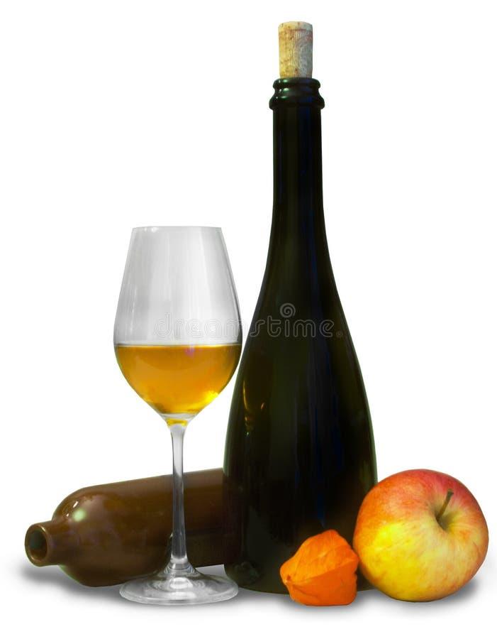 Μπουκάλια με το ποτήρι του κρασιού στοκ εικόνες με δικαίωμα ελεύθερης χρήσης