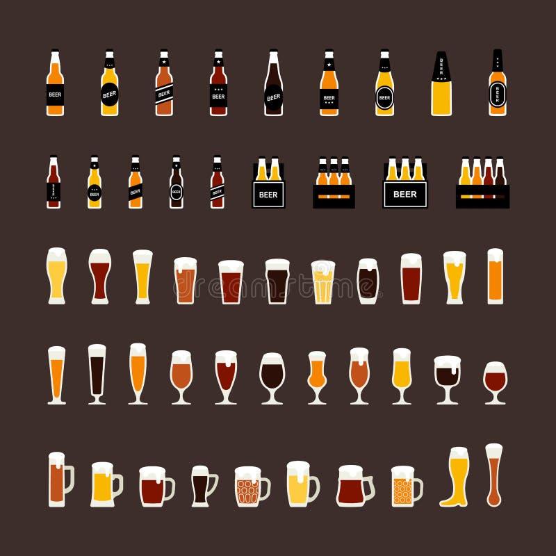 Μπουκάλια μπύρας και χρωματισμένα γυαλιά εικονίδια που τίθενται στο επίπεδο ύφος διάνυσμα απεικόνιση αποθεμάτων