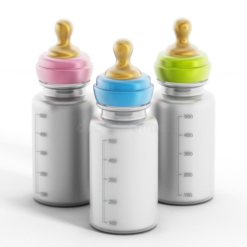 Μπουκάλια μωρών με το γάλα ελεύθερη απεικόνιση δικαιώματος